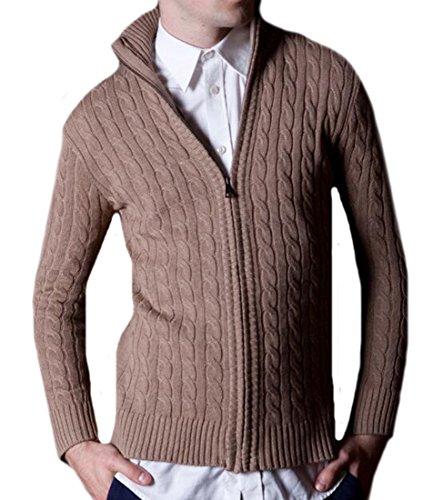 JEWOSSR Men's British Style Stand Collar Full-Zip Cardigan Sweater Khaki S (British Khaki Mens Sweaters compare prices)