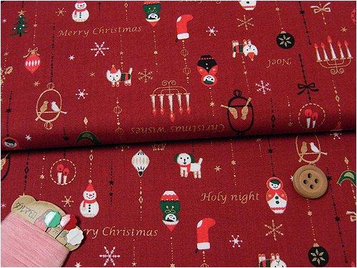 コットン生地・マトリョーシカのクリスマス飾り(赤):1m長さ×約110cm幅