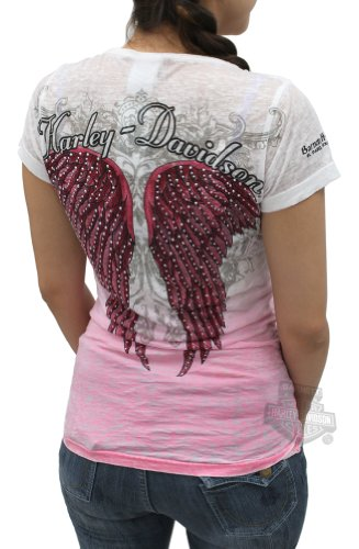Harley-Davidson Womens Ombre Studded Wings Dip Dyed Burnout Pink Short Sleeve Shirt