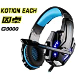 KOTION EACH G9000 Headset 3.5mm Gaming Headphone Earphone with Microphone LED Light for Laptop Tablet/Mobile Phones/PS4 (Black Blue) (Color: Black Blue)