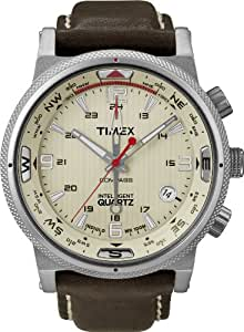 Timex - T2N725D7 - Intelligent Quartz - Montre Homme - Quartz Analogique - Cadran Blanc - Bracelet Cuir Brun