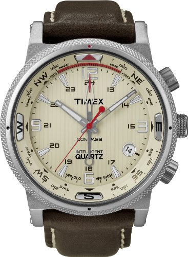 Timex Intelligent Quartz Men's Compass Watch with Yellow Dial Analogue Display and Brown Leather - T2N725