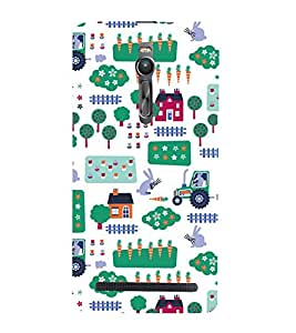 KIDDISH PATTERN OF HUTS AND TRUCKS IN A WHITE BACKGROUND 3D Hard Polycarbonate Designer Back Case Cover for Asus Zenfone 2 ZE551ML :: Asus Znfone 2 ZE550ML