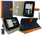 Emartbuy® Blue Stylus + Universal Range ( 8 - 9 Inch ) Denim with Tan Trim Multi Angle Executive Folio Wallet Case Cover With Card Slots Suitable for Archos 80 Cobalt 8 Inch Tablet