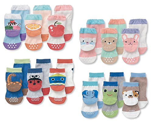 LUXEHOME (YR1603) Anti-Slip Grip Soles Cartoon Baby Socks,12 Pairs per Pack (L 3-5 Years)