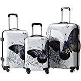 ZAZAⓇ Butterfly or Multi Wavey White Suitcase Multicolour Design Set of 3 Suitcases - Super Lightweight 4 wheels - Funky Luggage Set - Hard Plastic