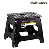 Folding Step Stool With Handle -9 Inch - Heavy Duty - Safe Non Slip Surface For Kids And Adults - Super Handy Saves Space For Work And Home - Super Strong Holds Up To 300 Pounds - By Kitch N' Wares
