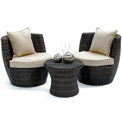 Rattan-Gartenmöbel Oakley stapelbar, Tisch, Stuhl, Braun günstig kaufen