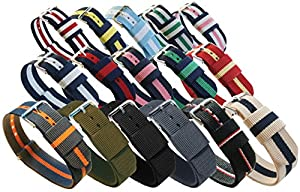 BARTON Watch Bands; Choice of 16 Colors, 3 Widths (18mm, 20mm or 22mm); Ballistic Nylon, Stainless Steel from Barton Watch Bands
