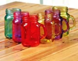 Hillbilly Country Glass Mason Jar Set of 6 Assorted Colors