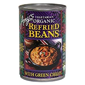 Amy's Organic Refried Beans with Mild Green Chiles, 15.4-Ounce Cans (Pack of 12)