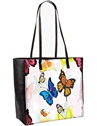 Abstract Butterflies Pattern Design Obo, Shoulder Bag Tote Faux Leather Handbag Satchel Tote
