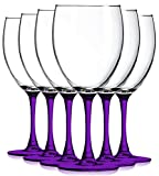Purple Nuance Wine Glassware with Beautiful Colored Stem Accent - 10 oz. set of 6- Additional Vibrant Colors Available by TableTop King