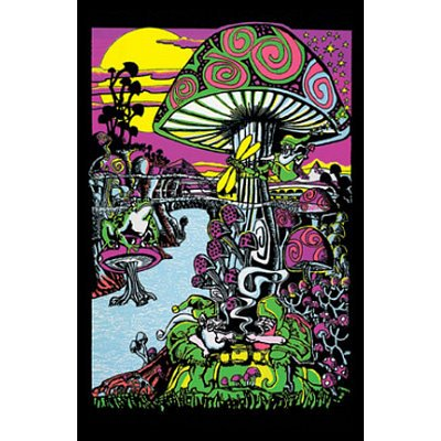 Mushroom (Trippy Land) Flocked Blacklight Poster Print - 24x36