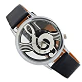 Woman Quartz Analog Hollow Musical Note Style leather Wrist Watch Casual Watch