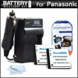 2 Pack Battery And Charger Kit For Panasonic LUMIX DMC-SZ7 DMC-TS25 Digital Camera Includes 2 Extended Replacement...
