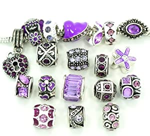 Ten (10) of Assorted Shades of Purple Crystal Rhinestone Beads (Styles You Will Receive Are Shown in Picture Random 10 Beads Mix) Charms Spacers for Bracelets Fits Pandora, Biagi, Troll, Chamilla and Many Others