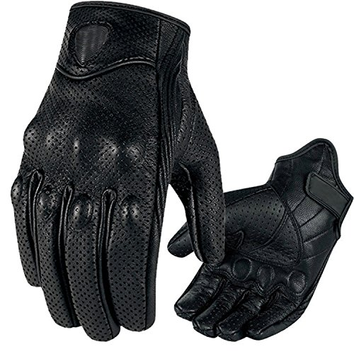 Winter Riding Goatskin Gloves Premium Protective Motorcycle Leather Full Finger Gloves Warm Lined TouchScreen Gloves