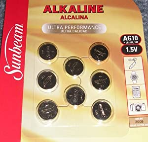 Sunbeam 8-Pack Button Cell Batteries: Style AG10 (LR1130, 189, SG10, others); 1.5V; Alkaline; Item# 11888