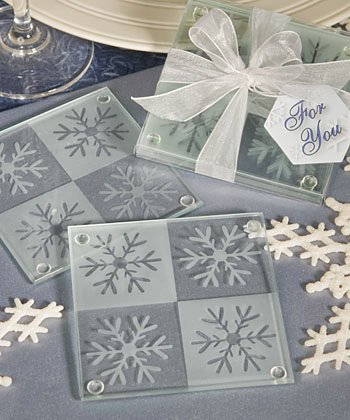 Snowflake Glass Coaster Winter Wedding Favors, 36