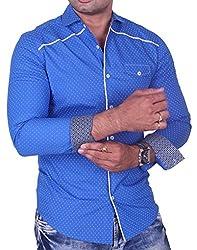 Equipoise Men's Cotton Casual Shirt (EQ-11 L/42_Blue_L )