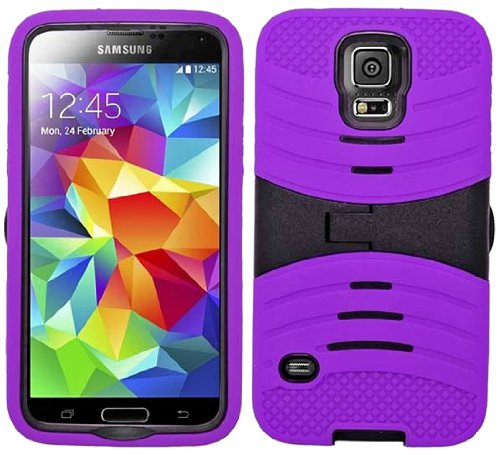 Mylife (Tm) Plum Purple And Black - Shockproof Survivor Series (Built In Kickstand + Easy Grip Ridges) 2 Piece + 2 Layer Case For New Galaxy S5 (5G) Smartphone By Samsung (Internal Flex Silicone Bumper Gel + Internal 2 Piece Rubberized Fitted Armor Protec
