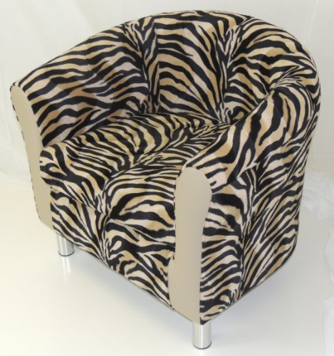 BEIGE & BLACK ANTELOPE ANIMAL PRINT TUB CHAIR WITH BEIGE FAUX LEATHER PANELS CHROME LEGS