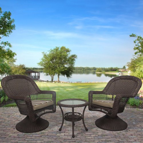 Cape Cod All-Weather Wicker 3 Piece Swivel Rocker Set