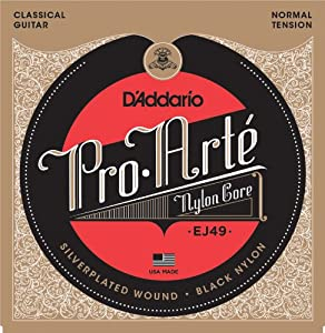 d 39 addario ej49 pro arte black nylon classical guitar strings normal tension. Black Bedroom Furniture Sets. Home Design Ideas