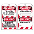 """Accuform Signs TDR321 Refill Tags Pack for QuickTags Safety Tag Dispenser, Legend """"DANGER LOCKED OUT DO NOT OPERATE/PELIGRO BLOQUEADO NO PONGA EN FUNCIONAMIENTO"""", PF-Cardstock (Pack of 100)"""