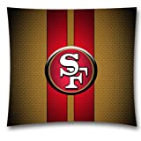 NFL Throw Pillow Cushion Covers, San Francisco 49ers Square Decorative Throw Pillowcases, Pure Cotton, Bedding, Sofa, Couch, Size: 18×18 inches (45×45 cm) Ball Game Theme 3390