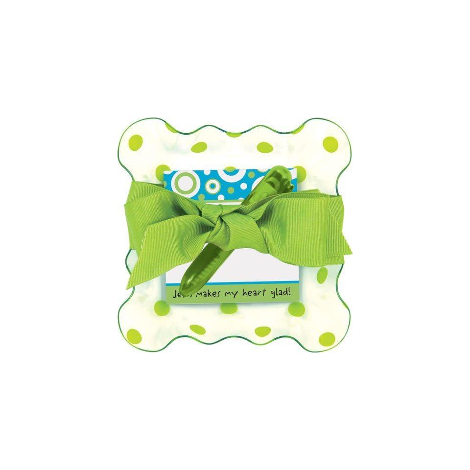 Lime Green Polka Dots Tray Chic, Inspirational Stationery Set