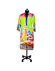 Ishi Maya Blue And Green Digital Print Kurti