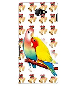 ColourCraft Love Birds Design Back Case Cover for SONY XPERIA M2