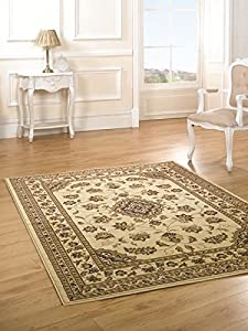 Sincerity Sherbourne Red Beige Green Navy Blue Rugs Traditional Large Thick Bedroom Lounge Rugs (Beige, 200 x 290cm) from Flair Rugs
