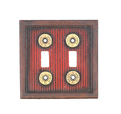 Shotgun Shot Shell Double Switch Electrical Cover Plate - 12 Guage Hunting Man Room Cabin Gun Bullet Skeet Decor