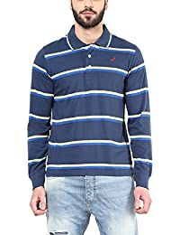 American Crew Men's Polo Collar Long Sleeves Stripes T-Shirt (Royal Blue & Yellow)