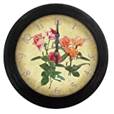 Precision MSF Radio controlled 28cm metal black antique finish wall clock with floral dialby Precision