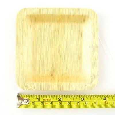 BambooMN Brand Bamboo Leaf Square Plates