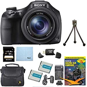 Sony DSC-HX400V/B DSCHX400VB DSCHX400V HX400 20 MP Digital Camera Bundle with 64GB High Speed Card, 2 Spare BatterIES, Rapid AC/DC External Charger, Padded Case, DVD Photography Tutorial, SD Card Reader, and Table top Tripod