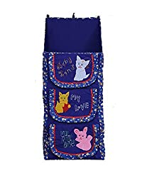 Kuber Industries Baby Almirah Hanging Three Cabinet For Kids (Blue)