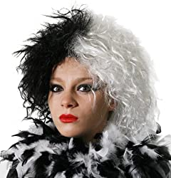 Evil Dog Lady Fancy Dress Wig Ideal For Cruella De Vil Half Black Half White Crimped Look Wig Fancy Dress