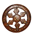 Pindia Brass Inlaid Wooden Small Chakri Wall Key Hanger