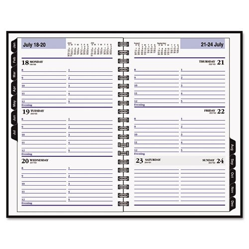 DayMinder Premiere Products - DayMinder Premiere - Premiére Desk Weekly Appointment Book, 4-7/8 x 8, Black - Sold As 1 Each - Hardcover appointment book keeps your records protected. - Twin wire binding allows book to lie flat when open. - Storage pocket