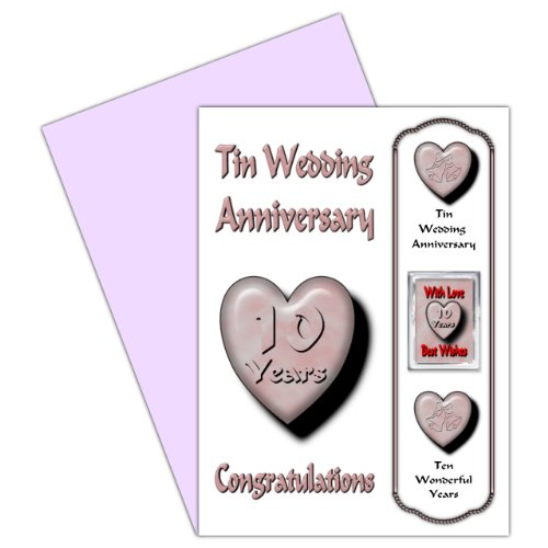 On Your 10th Wedding Anniversary Card With Removable Magnet Gift - 10 Years - Tin Anniversary For Family & Friends