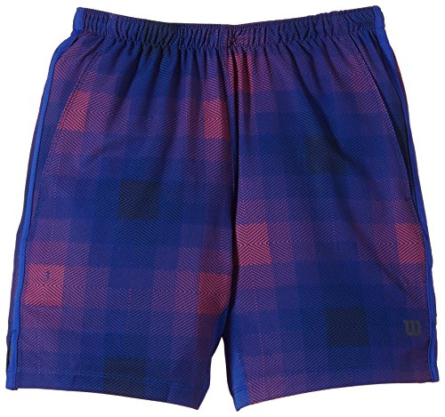 Wilson, Pantaloni corti da tennis Bambino, Blu (Blue Iris Plaid/Coal), M