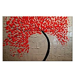 Wieco Art - Red Flower Modern 100 % Hand Painted Stretched and Framed Abstract Floral Oil Paintings on Canvas Wall Art Ready to Hang for Living Room Bedroom kitchen Dining Room Home Decorations