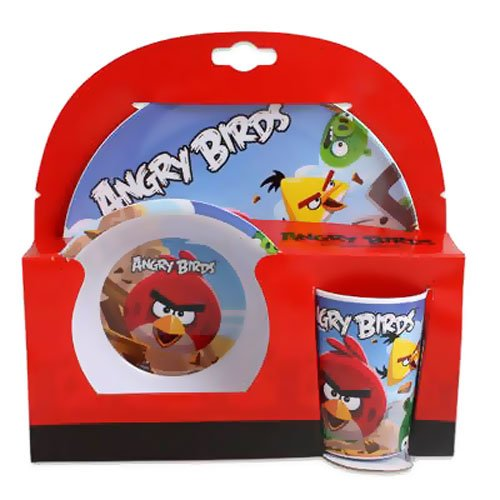 Angry Birds Kid's Melamine Dinnerware Set Includes