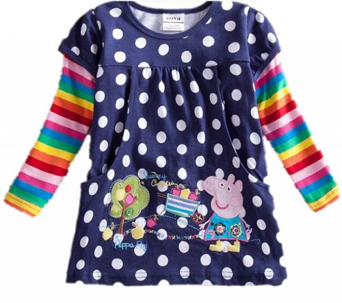 Baby Girls Long Sleeve Tops Tees Cotton,Sapphire,3Y front-692748