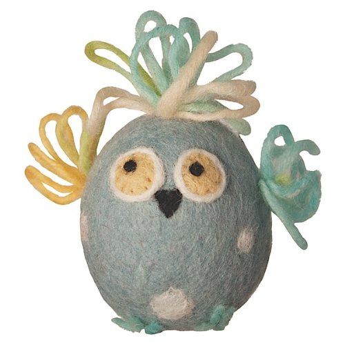Wild Woolie Handfelted Easter Ornament, Egglin-blue